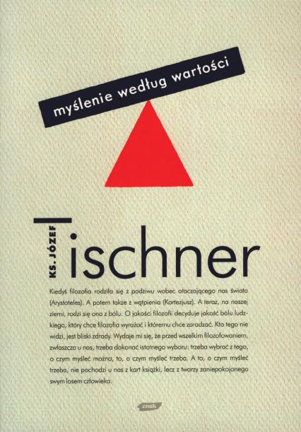 Myślenie według wartości - ks. Józef Tischner  | okładka