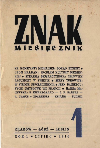 "Miesięcznik ""Znak"" Reprint nr 1 z 1946 roku  -  | okładka"
