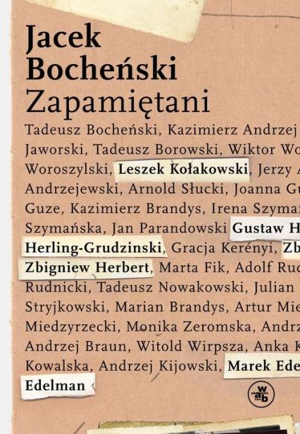 Zapamiętani - Jacek Bocheński | okładka