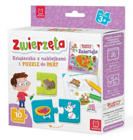 Zwierzęta Książeczka z naklejkami i puzzle do pary -    okładka