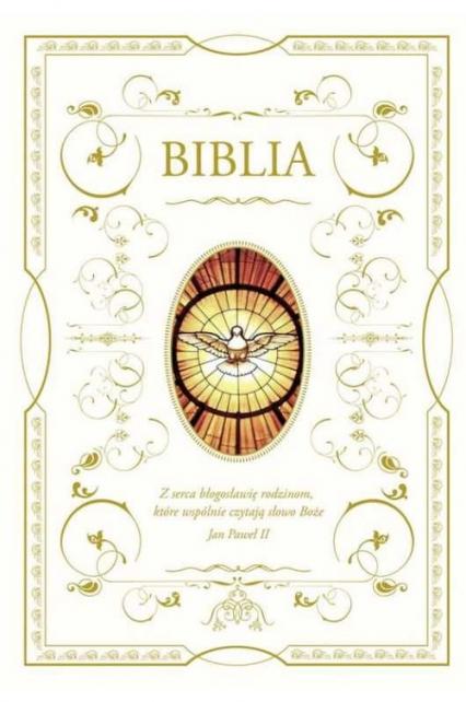 Biblia domowa z białą obwolutą - wizerunek Ducha Świętego -  | okładka