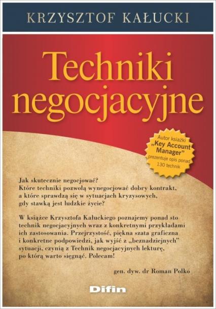 Techniki negocjacyjne - Krzysztof Kałucki | okładka