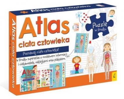 Atlas ciała człowieka: Atlas w zestawie z mapą i puzzlami Pakiet -    okładka