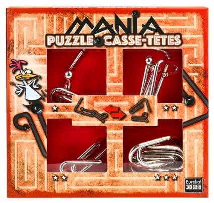 Łamigłowki metalowe 4 sztuki Puzzle-mania zestaw czerwony -    okładka