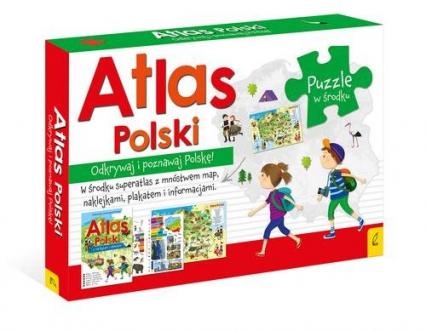 Atlas Polski +Plakat z mapą +Puzzle -  | okładka