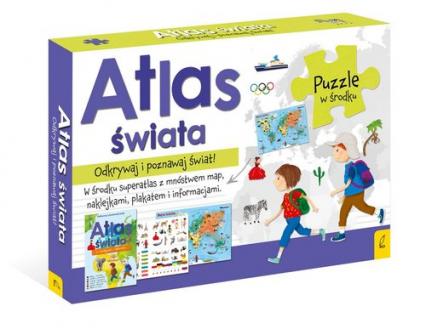 Atlas Świata +Plakat z mapą +Puzzle -  | okładka