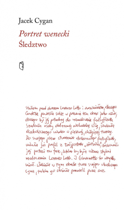Portret wenecki Śledztwo - Jacek Cygan | okładka