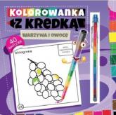 Kolorowanka z kredką Warzywa i owoce - Marcin Południak | mała okładka