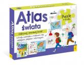 Atlas Świata +Plakat z mapą +Puzzle -  | mała okładka