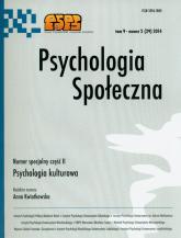 Psychologia społeczna Tom 9 Numer 2 (29) 2014 Numer specjalny część II Psychologia kulturowa -  | mała okładka