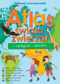 Atlas zwierząt świata z naklejkami i plakatem -  | mała okładka