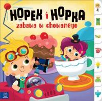 Hopek i Hopka zabawa w chowanego Interaktywna książeczka dla dzieci - Joanna Olejarczyk | mała okładka