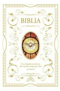 Biblia domowa z białą obwolutą - wizerunek Ducha Świętego -  | mała okładka