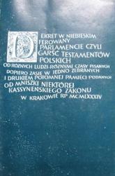 Dekret w niebieskim ferowany parlamencie. Wybór testamentów z XVII-XVIII wieku. - s. Małgorzata Borkowska OSB  | mała okładka